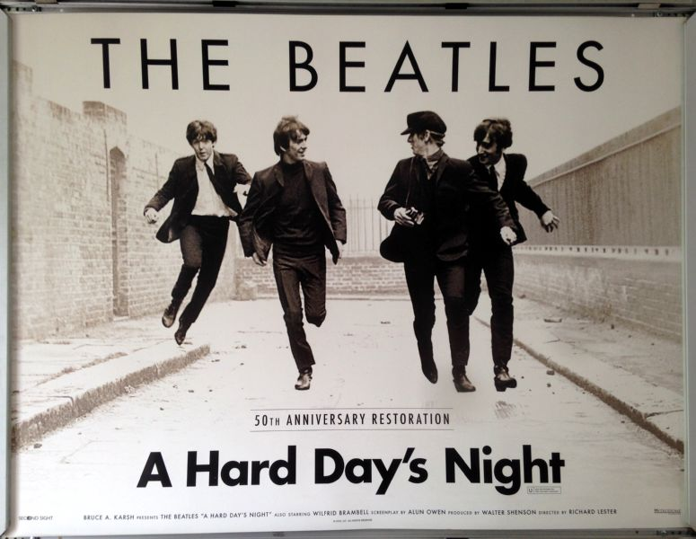 Cinema Poster: A HARD DAY'S NIGHT 1964 (50th Anniversary Quad) The Beatles
